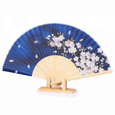 34210 Eventail pliant japonais bleu fleurs de ceriser